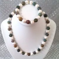 pearl, jade and jasper necklace